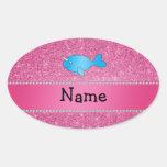 Brillo rosado narwhal azul conocido personalizado calcomanía ovalada
