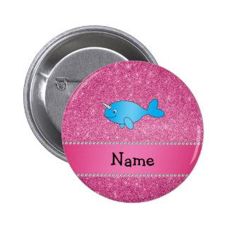 Brillo rosado narwhal azul conocido personalizado pin redondo de 2 pulgadas