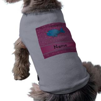 Brillo rosado narwhal azul conocido personalizado playera sin mangas para perro