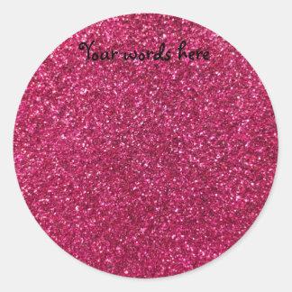 Brillo rosado pegatina redonda