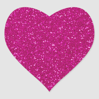 Brillo rosado pegatina en forma de corazón