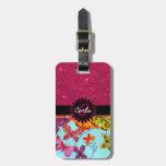 Brillo rosado y monograma colorido de la mariposa etiqueta para maleta