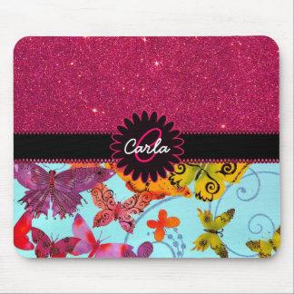 Brillo rosado y monograma colorido de la mariposa tapetes de ratón