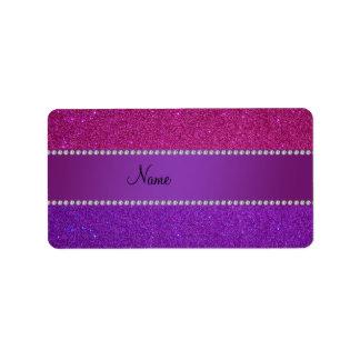 Brillo rosado y púrpura conocido personalizado etiquetas de dirección