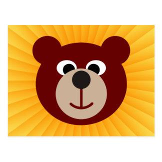 Brillo sonriente del amarillo del oso tarjeta postal