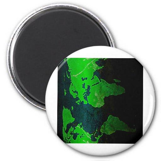 Brillo Styl del verde de la geografía de la tierra Imán Redondo 5 Cm