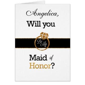 Brillo usted será mi criada de la invitación del tarjeta de felicitación