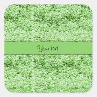 Brillo verde brillante pegatina cuadrada