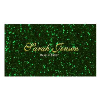 Brillo verde con las letras del oro tarjetas de visita
