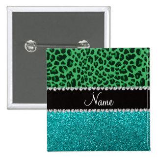 Brillo verde conocido personalizado de la turquesa pin