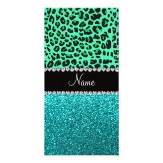 Brillo verde conocido personalizado de la turquesa tarjetas fotograficas personalizadas