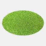 Brillo verde de neón colcomanias de oval personalizadas