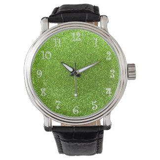 Brillo verde de neón relojes de mano