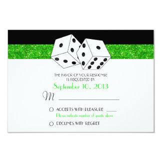 """Brillo verde de RSVP del tema de los dados de Las Invitación 3.5"""" X 5"""""""