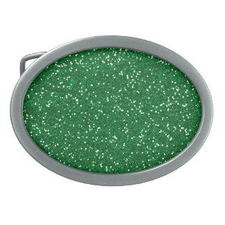 Brillo verde elegante hebilla de cinturon oval