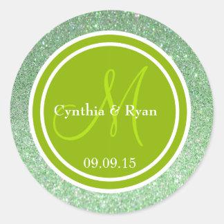 Brillo verde y monograma verde del boda pegatina
