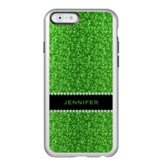 Brillo y chispas 2 del verde de Monogramed Funda Para iPhone 6 Plus Incipio Feather Shine