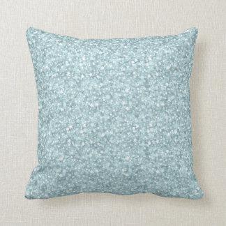 Brillo y chispas azules en colores pastel elegante almohada