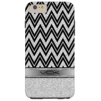 Brillo y chispas blancos, zigzag negro Chevron Funda De iPhone 6 Plus Tough