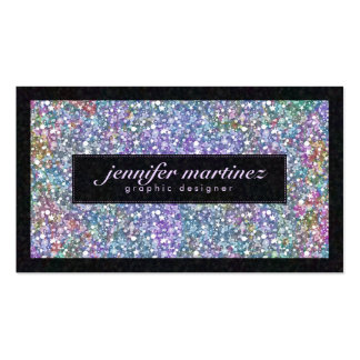 Brillo y chispas púrpuras coloridos negros elegant tarjetas de visita
