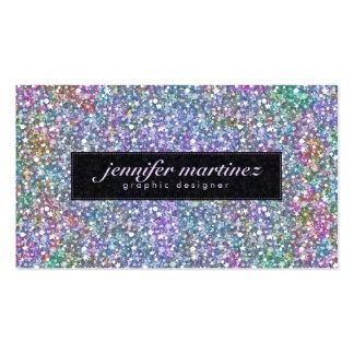 Brillo y chispas púrpuras coloridos negros tarjetas de visita