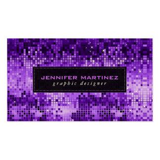 Brillo y chispas púrpuras elegantes de la bola de tarjetas de visita