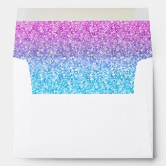 Brillo y chispas retros coloridos sobres