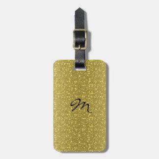 Brillo y chispas retros del oro etiqueta de maleta