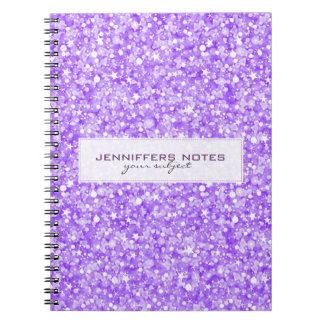 Brillo y chispas retros púrpuras elegantes cuadernos