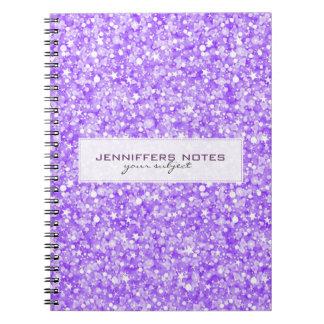 Brillo y chispas retros púrpuras elegantes libros de apuntes
