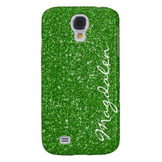 Brillo y chispas verdes de los tonos modificados p funda para galaxy s4