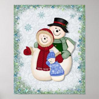 Brillo y copos de nieve de la familia del muñeco d poster