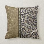 Brillo y estampado leopardo del oro con los pernos cojines