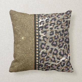 Brillo y estampado leopardo del oro con los pernos almohada