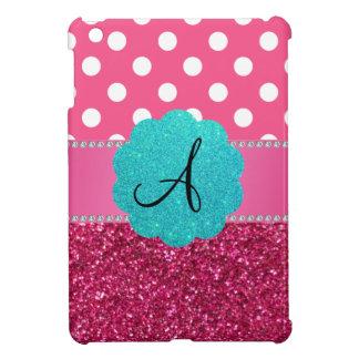 Brillo y lunares del rosa del monograma iPad mini cárcasas