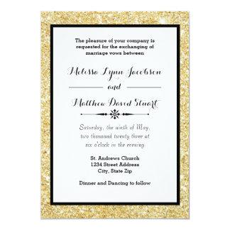 Brillo y marco negro - invitación del oro del boda