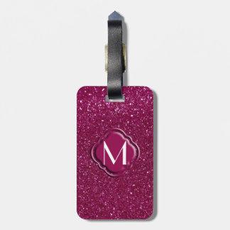 Brillo y monograma rosados etiquetas para maletas