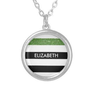 Brillo y nombre blancos negros modernos del verde colgante redondo