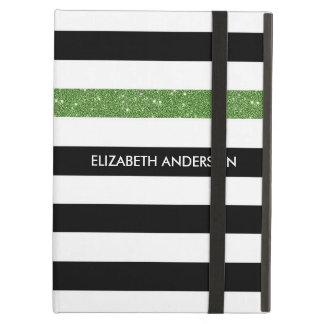 Brillo y nombre blancos negros modernos del verde