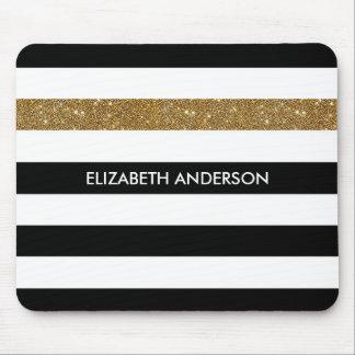 Brillo y nombre negros modernos del oro de las mouse pad