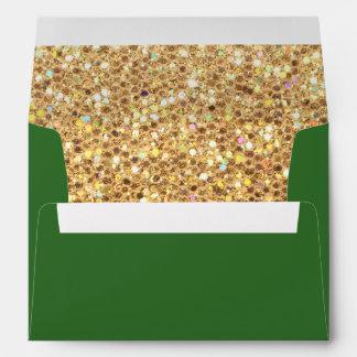 Brillo y verde del oro sobres