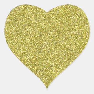 Brillos brillantes relucientes del oro pegatina en forma de corazón