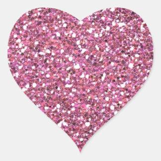 Brillos brillantes relucientes del rosa pegatina en forma de corazón