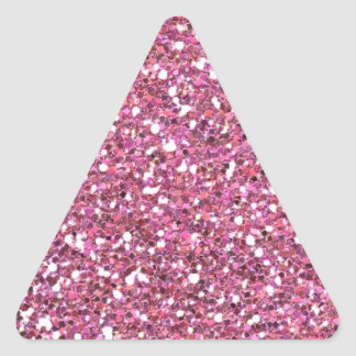 Brillos brillantes relucientes del rosa pegatina triangular