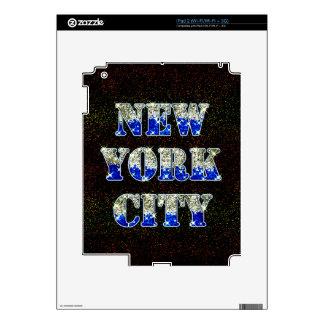 Brillos de plata del azul de New York City iPad 2 Skins