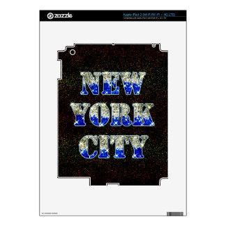 Brillos de plata del azul de New York City Pegatinas Skins Para iPad 3