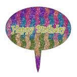 Brillos en feliz cumpleaños de las ondas decoraciones de tartas