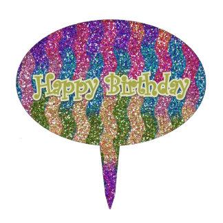 Brillos en feliz cumpleaños de las ondas figura de tarta