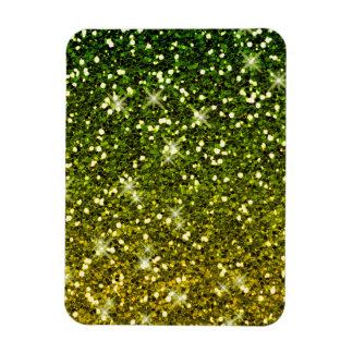 Brillos verde oscuro brillantes del oro imanes flexibles