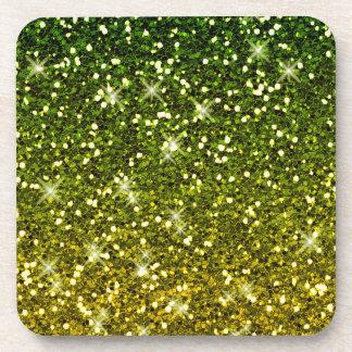 Brillos verde oscuro brillantes del oro posavasos de bebida